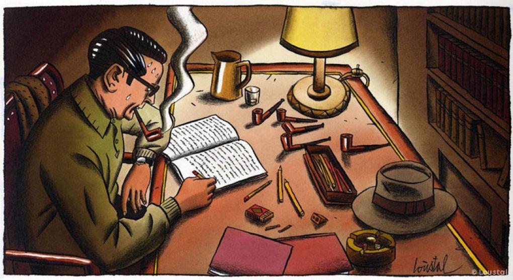 Dessin de Loustal représentant Georges Simenon écrivant à son bureau